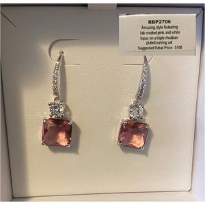 Beautiful pink and white topaz earrings
